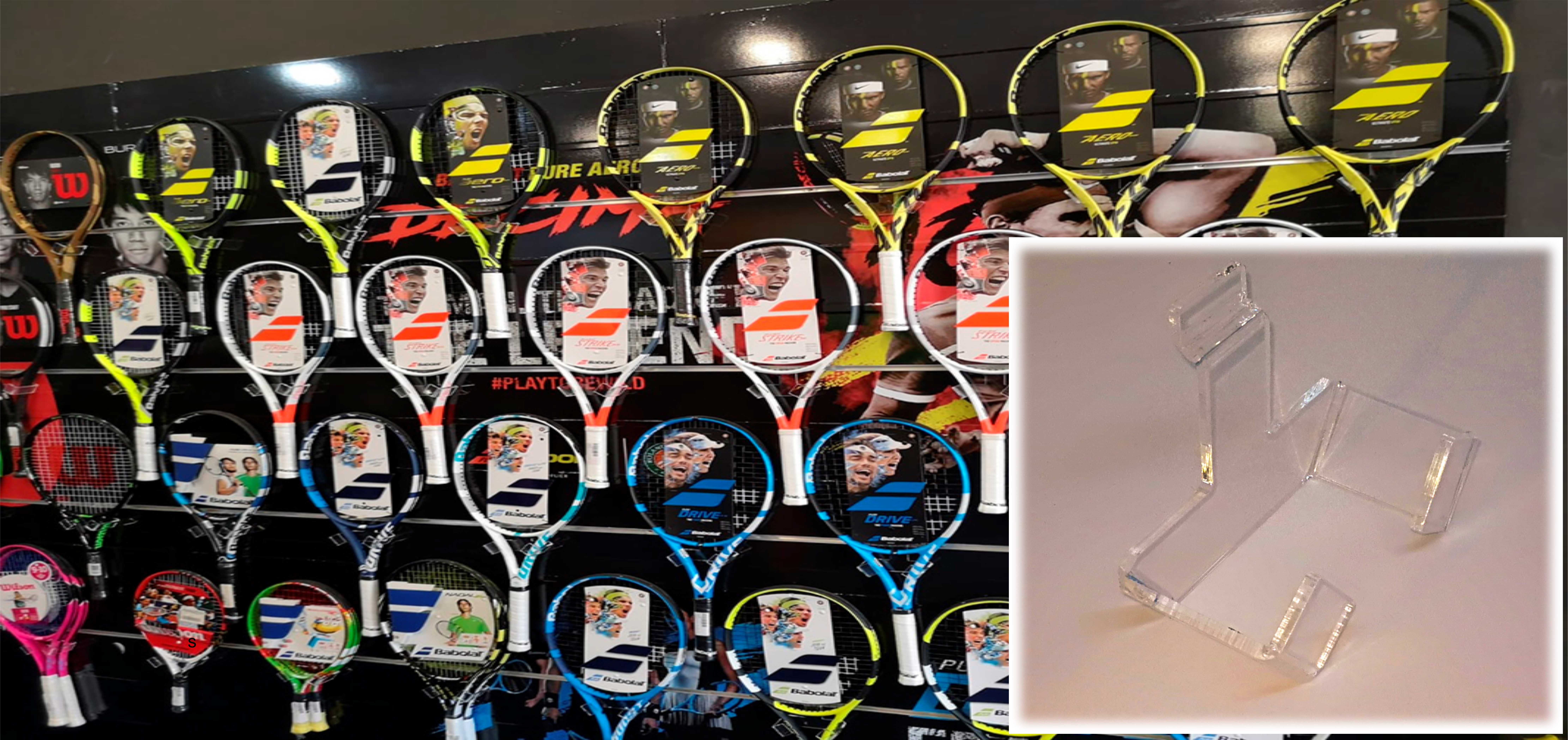 Soporte para raquetas de tenis