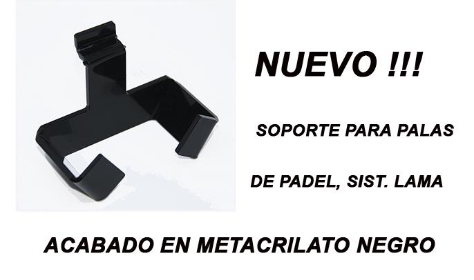 SOPORTE PALAS DE PADEL METACRILATO NEGRO